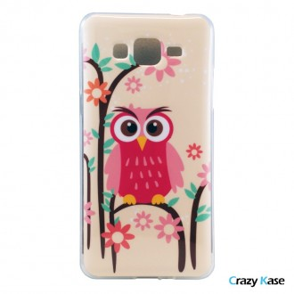 Crazy Kase - Coque Galaxy Grand Prime Motif Hiboux Rose et Fleur Verte, Rose et Orange