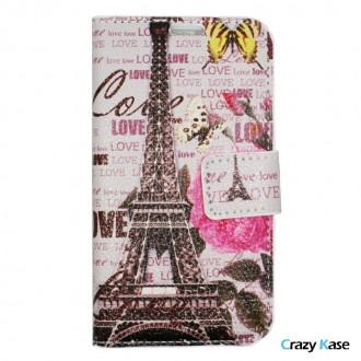 Crazy Kase - Etui Galaxy J1 Motif Tour Eiffel et Love Rose