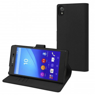 Etui Sony Xperia Z5 Portecartes Noir - Muvit