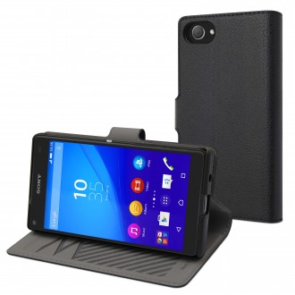 Etui Sony Xperia Z5 Compact Portecartes Noir - Muvit