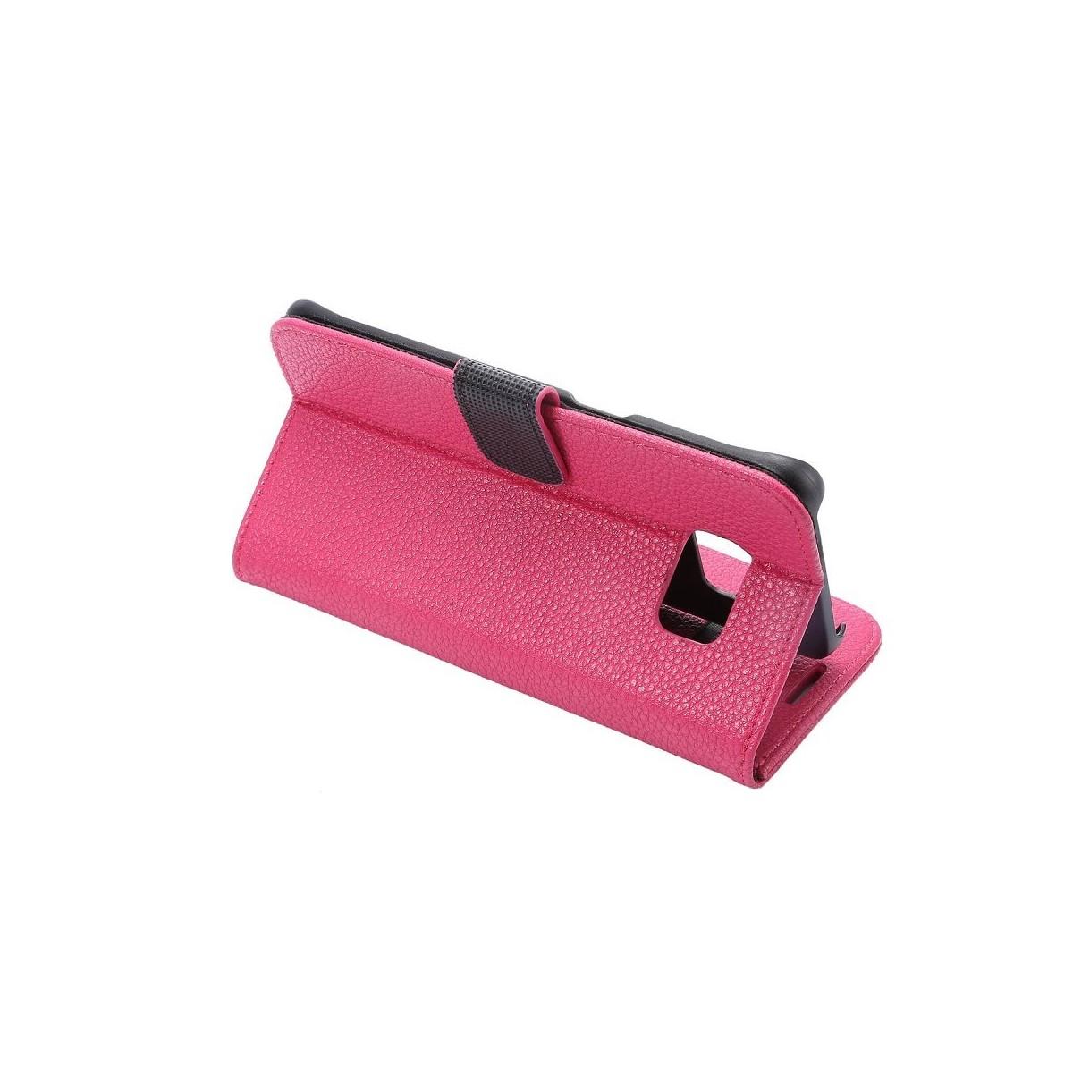 Etui Galaxy S7 Edge Portecarte Rose - Crazy Kase