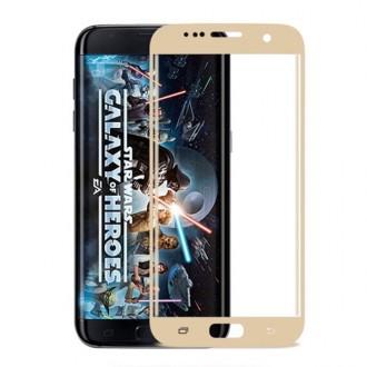 Film Galaxy S7 Edge protection écran verre trempé incurvé Contour Doré