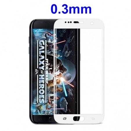 Film Galaxy S7 Edge protection écran verre trempé incurvé contour Blanc pose anti bulle