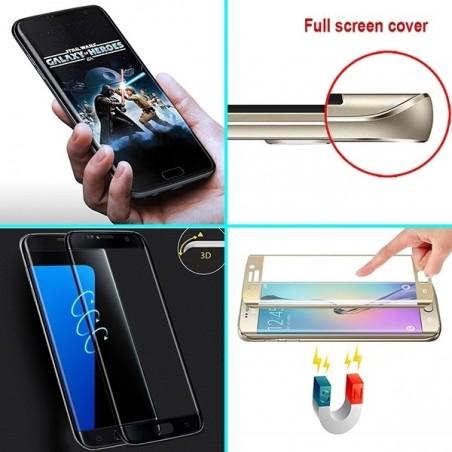 Film Galaxy S7 Edge protection écran verre trempé incurvé contour Doré pose anti bulle