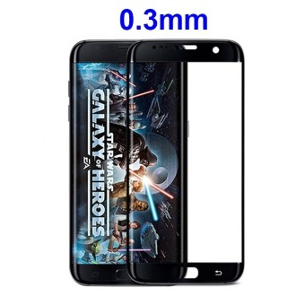 Film Galaxy S7 Edge protection écran verre trempé incurvé contour Noir pose anti bulle