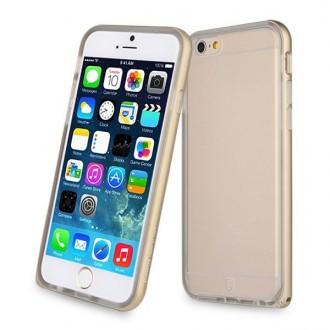 Coque iPhone 6 / 6s Transparente avec bumper doré - Baseus