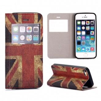 Etui iPhone SE / 5S / 5 avec fenêtre de visualisation motif Drapeau UK - Crazy Kase